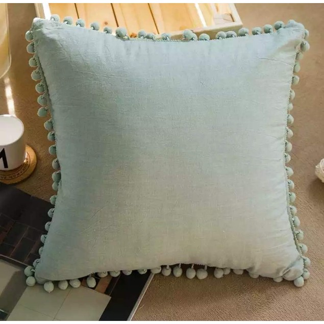 Pom Poms Fringe Throw Pillow Covers for Couch (Sage)