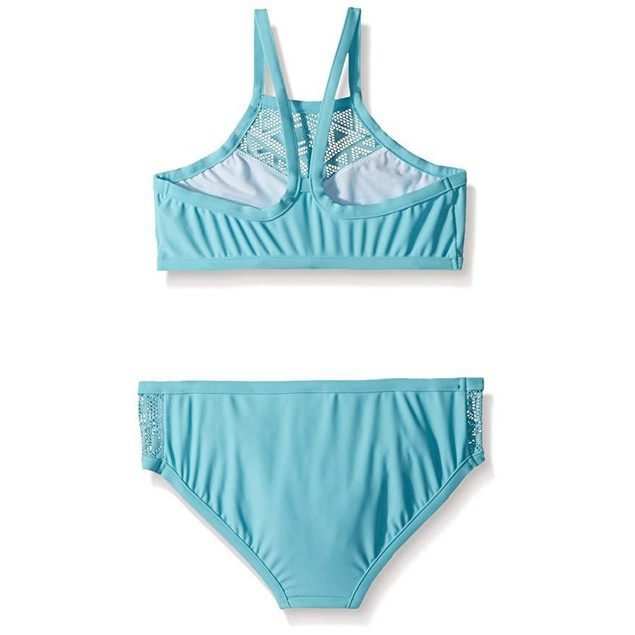 Seafolly Girls' Big Apron Tankini Swimsuit, Aqua Sky, 12