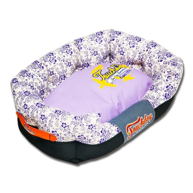 Touchdog Floral-Galore Plush Rectangular Rounded Designer Dog Bed