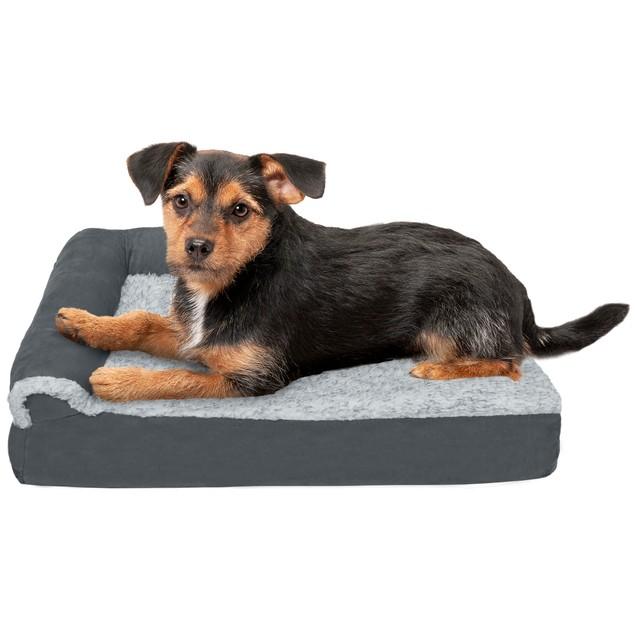 FurHaven Faux Fur & Suede Deluxe Chaise Lounge Memory Foam Pet Bed