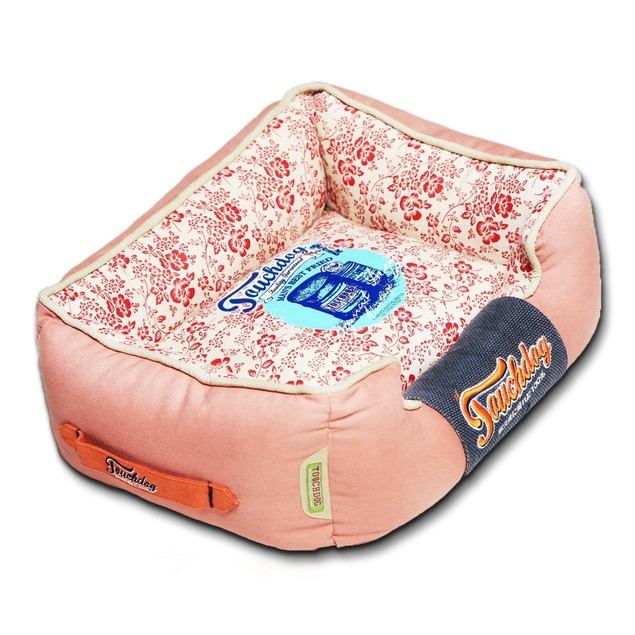 Touchdog Floral-Galore Vintage printed Plush Rectangular Dog Bed