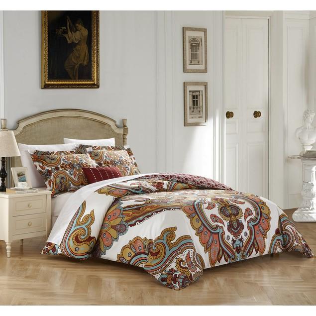 Chic Home 4 Pc. Dharma 100%Cotton contemporary Boho Printed Duvet Cover Set