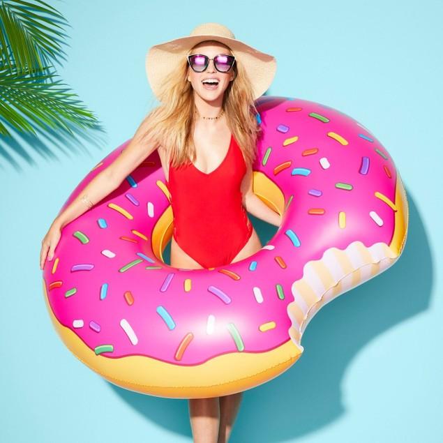 "Sun Squad Strawberry 45"" Diameter, Thick Vinyl Printed Donut Pool Float,"