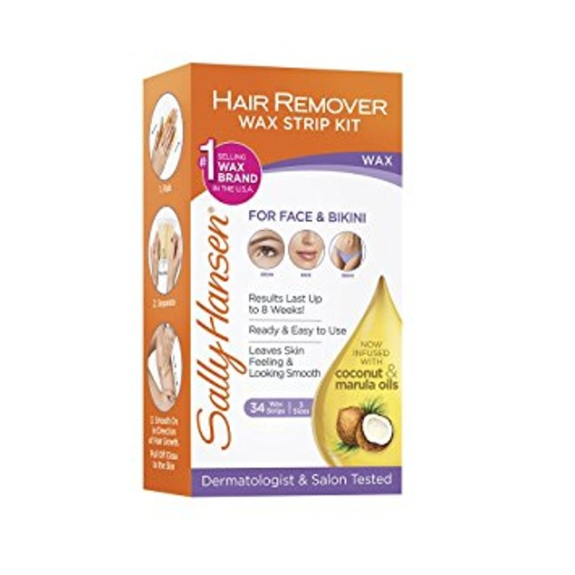 Sally Hansen Wax Strips Hair Remover Kit For Face, Brows & Bikini