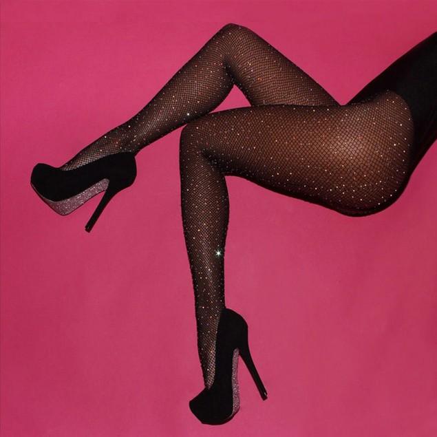 Women Rhinestone Fishnet Elastic Stockings Fish Net Tights Pantyhose Socks