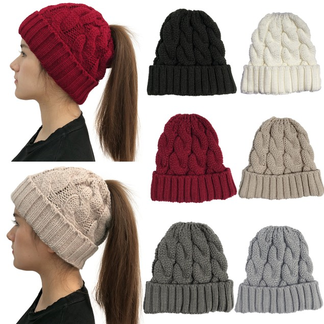 Women's Curled Knitted Woolen Ponytail Hat Warm Hat