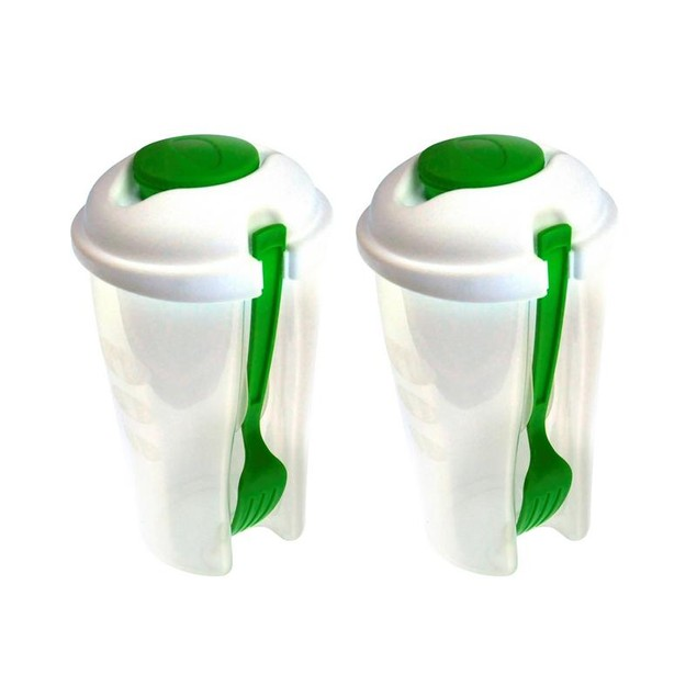 2-Pack Salad or Lunch To Go Container w Fork and Dressing Cup