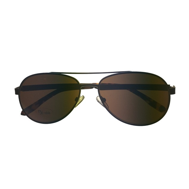 Levi Rxable Mens Sunglass Dark Brown Aviator, Solid Brown Lens LS813 1