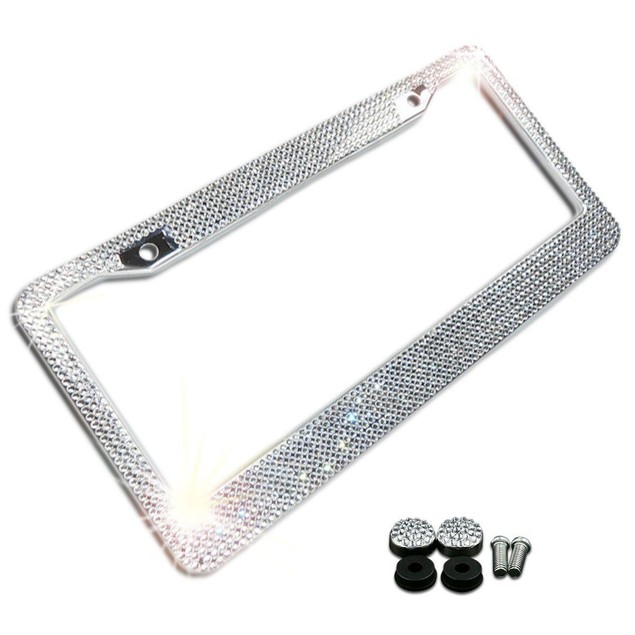 Zone Tech Metal License Plate Frame Bling Rhinestones  Crystal Diamond
