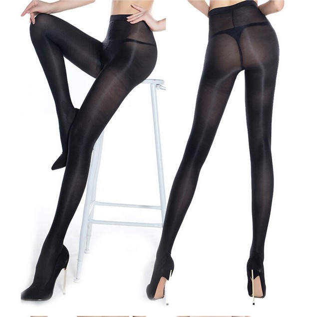 Bar Stage Cut High Gloss Shiny Glossy Pantyhose Tights Hosiery Hose BK