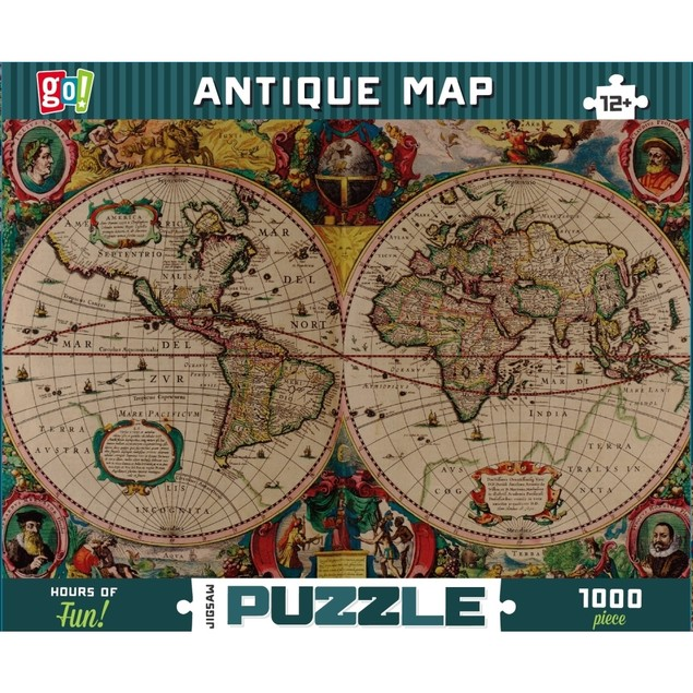 Antique Map 1000 Piece Puzzle, 1,000 Piece Puzzles by Go! Games