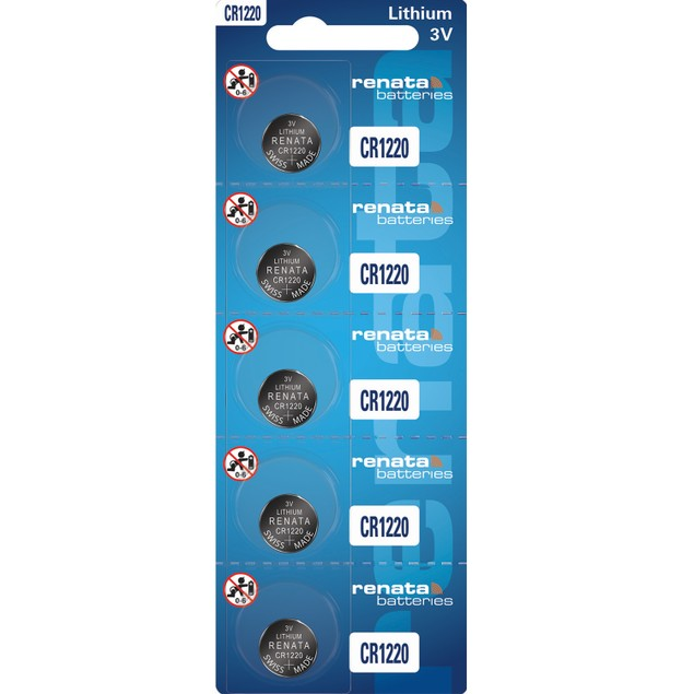 Renata CR1220 Lithium Coin Cell Batteries (5 Batteries)
