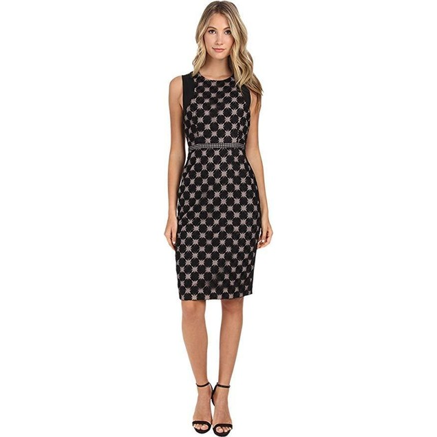 Nicole Miller Women's Sunburst Embroidery Dress w/ Waistband Black Dre