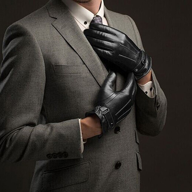 Men Fashion Winter Faux Leather Full Finger Gloves