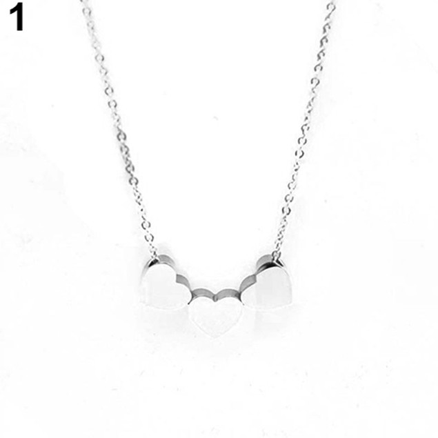 Three Heart Chain Pendant Necklace