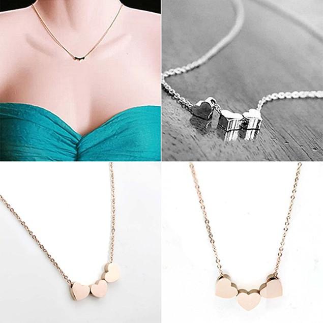 Three Heart Chain Pendant Necklace