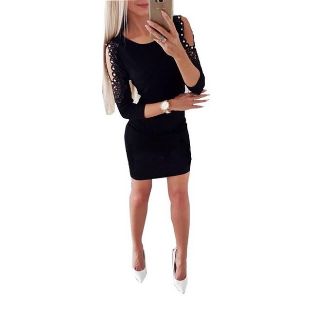 Women solid color long sleeves pearl off-shoulder dress