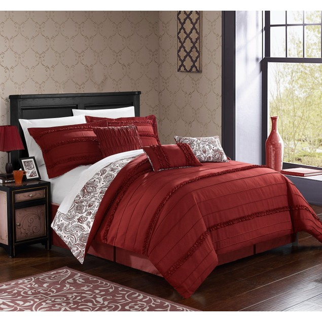 Chic Home 7 Pc. Rozelle Pleated and Ruffled REVERSIBLE FLoral Comforter Set