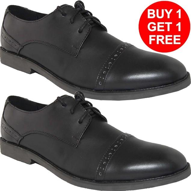 KRAZY SHOES BOGO 1 FREE Shoes | LEATHER LINED Black Mens Oxfords