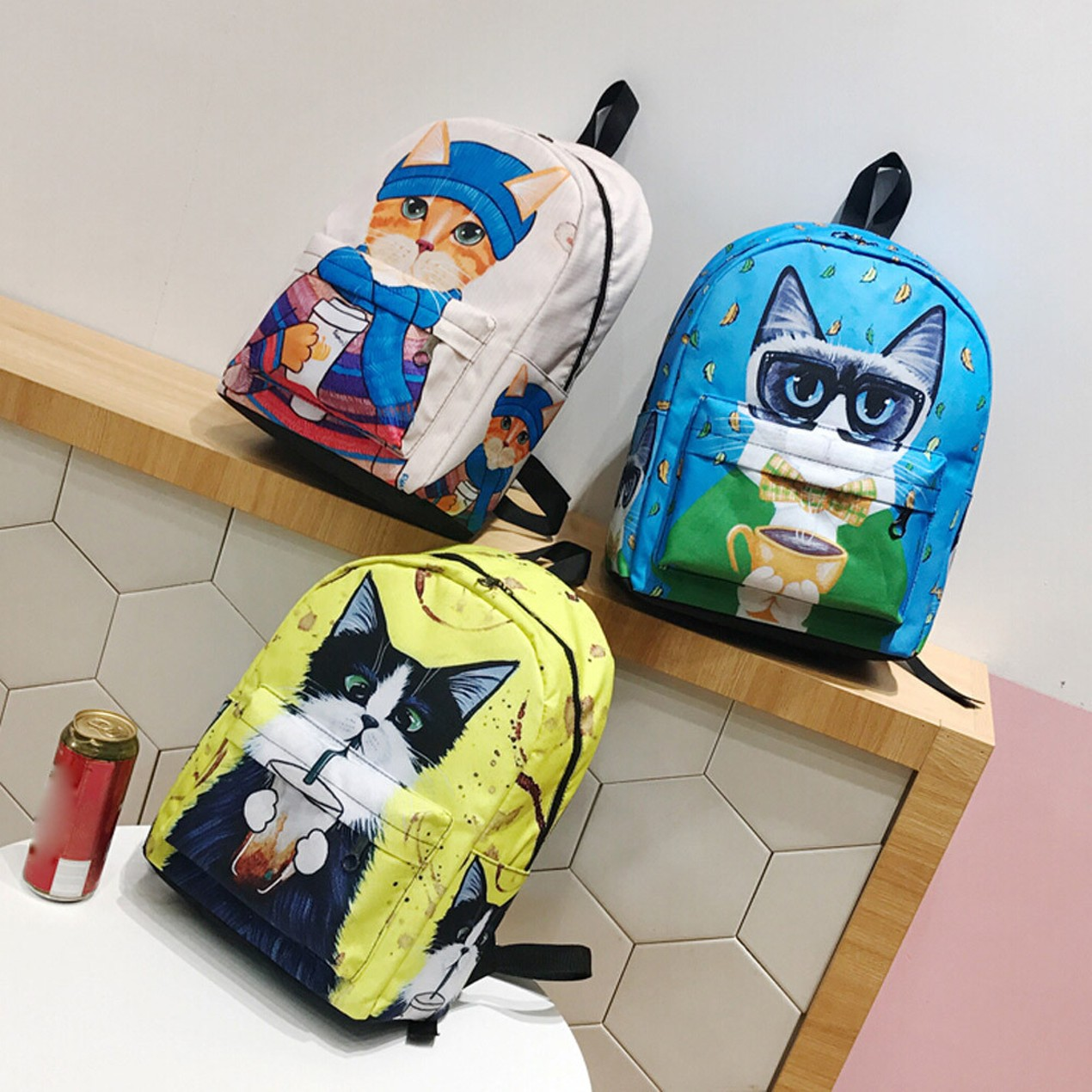 7314f159a927 Cute Backpack School Women Backpacks Girls Funny Cats Canvas Shoulder Bag  ...