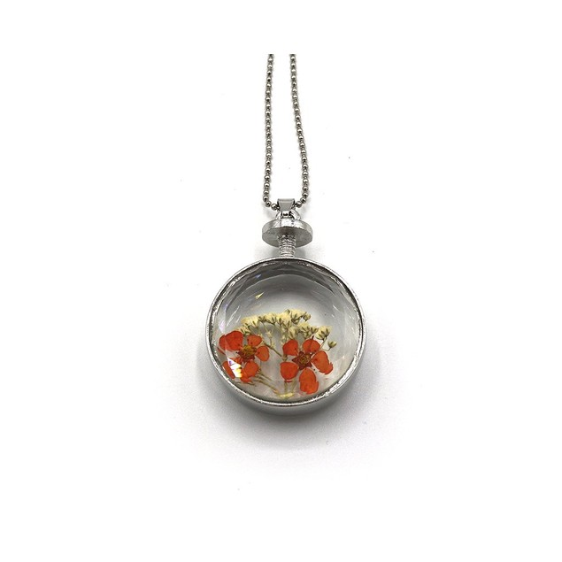 Novadab Dried Flower Round Pendant Necklace