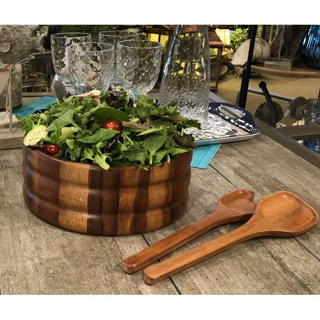 Acacia Wood Extra Large Salad Bowl w/ serving utensils