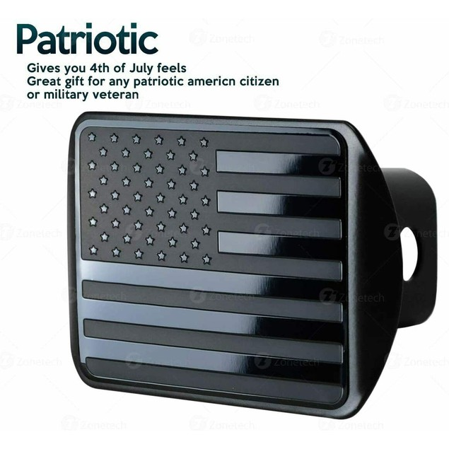 Zone Tech Monochrome USA Flag Hitch Trailer Cover Embossed Patriotic