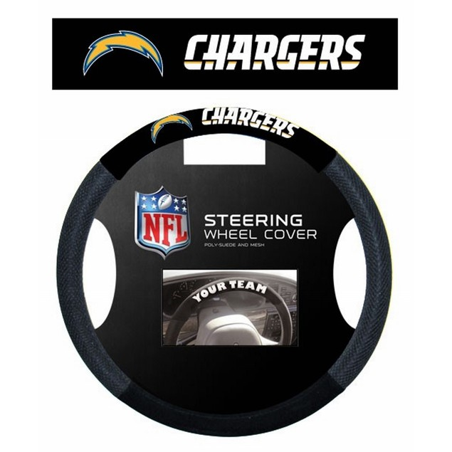 Los Angeles Chargers Steering Wheel Cover NFL Football Team Logo Poly Mesh