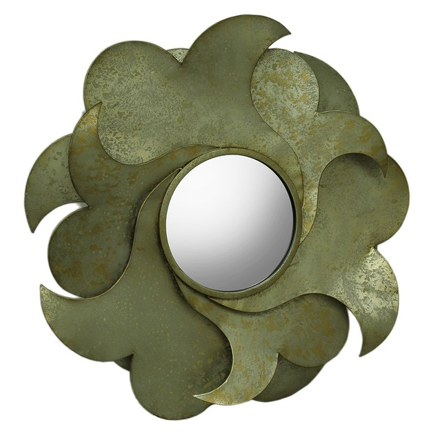 Distressed Layered Metal Flower Petal Mirrored Wall Mounted Mirrors