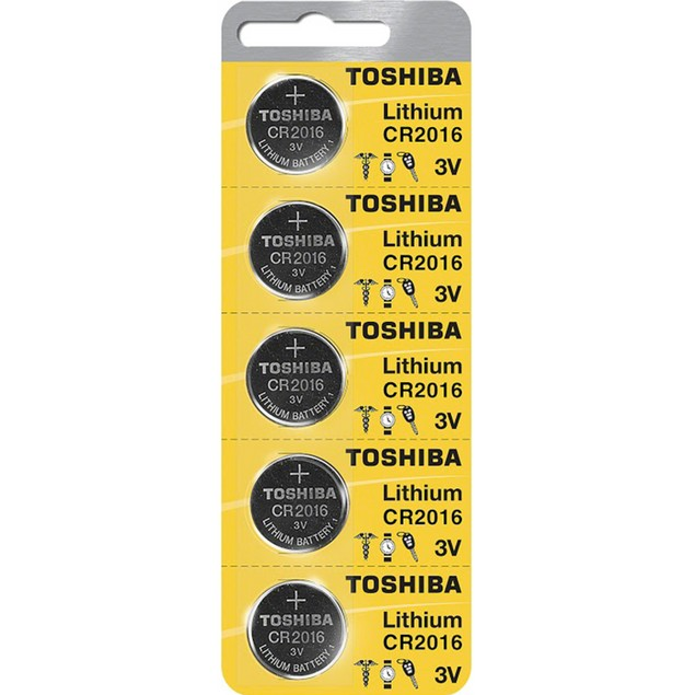 Toshiba CR2016 3-Volt Lithium Coin Cell Batteries (5 Batteries)