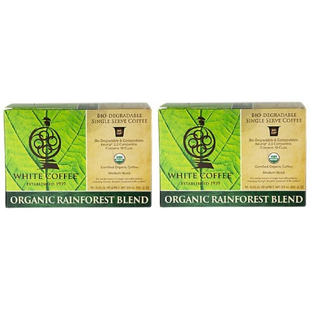 White Coffee Organic Rainforest Blend K Cups 2 Box Pack