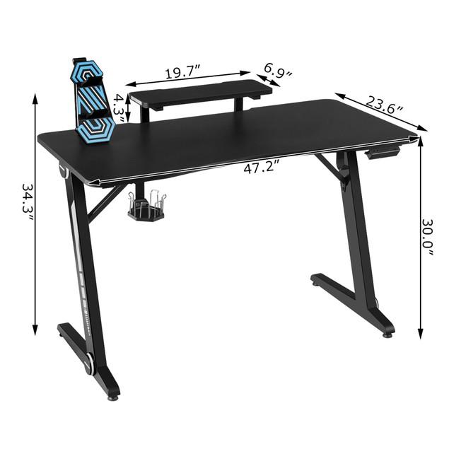 Costway Gaming Desk PC Computer Table w/RGB Lights Monitor Shelf&Storage fo