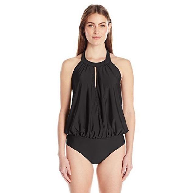ATHENA Women's Cabana Solids Alexandra One Piece Swimsuit Black SZ: S