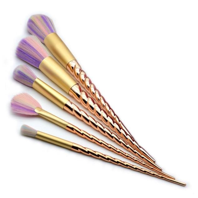 5-Piece Rainbow Unicorn Cosmetic Brush Set with Gold Handles