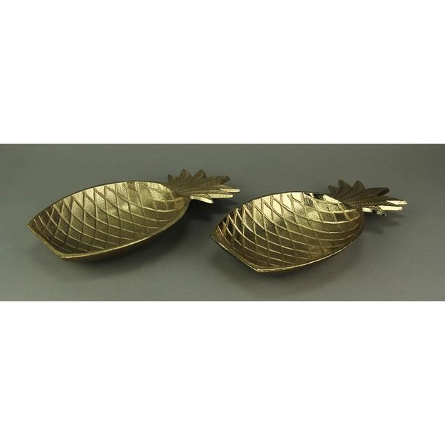 Golden Pineapple Decorative Metal Tray Set Of 2 Decorative Trays