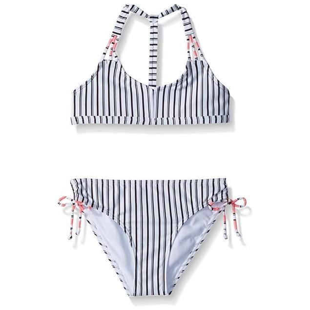 O'Neill Girls' Big Highway Stripe Triangle Bikini Set, White W/Black,
