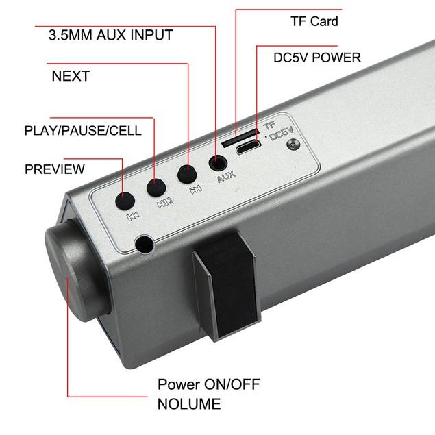 TV Home Theater Soundbar Bluetooth Sound Bar Speaker w/Built-in Subwoofer