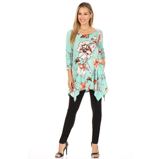 Floral Scoop Neck Tunic Top with Pockets - 4 Colors - Extended Sizes