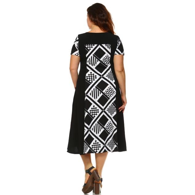 White Mark Universal Plus Size Printed 'Constance' Midi Dress