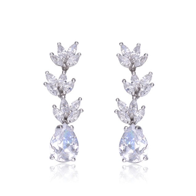 Sterling Silver Clear Cubic Zirconia Drop Earrings