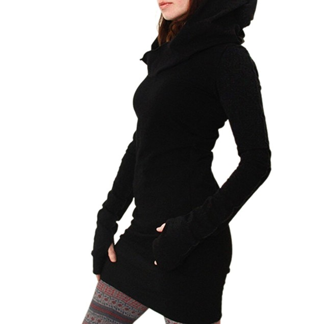 Women Fashion Hooded Hoody Sweatshirt Dress