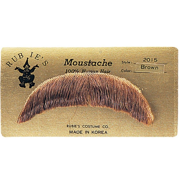 Light Brown Basic Character Moustache 100% Human Hair Costume Accessory