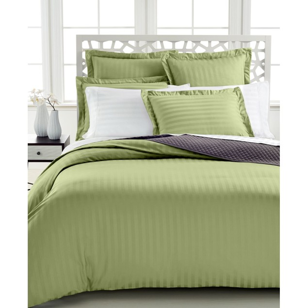 Charter Club Damask Stripe 500 Thread Count Twin Duvet Cover, Palmetto
