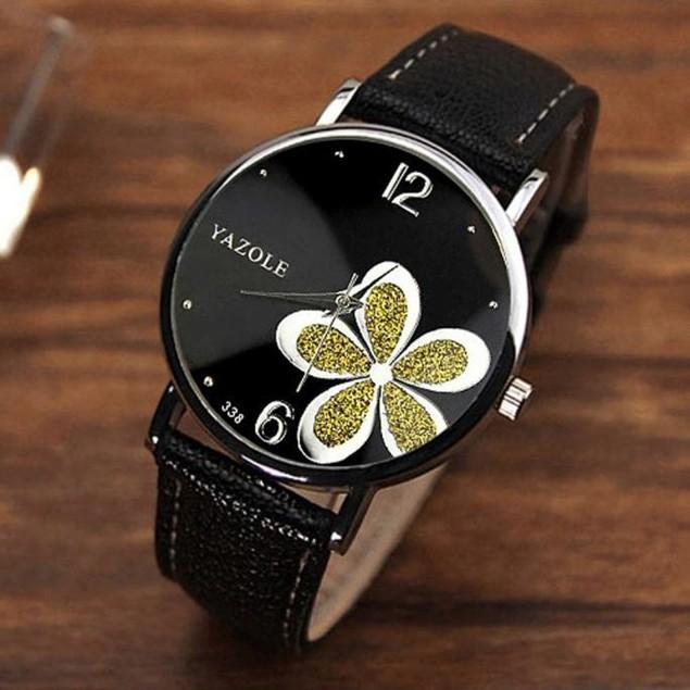 Women's Luxury Flower Crystal Round Black Wristwatch