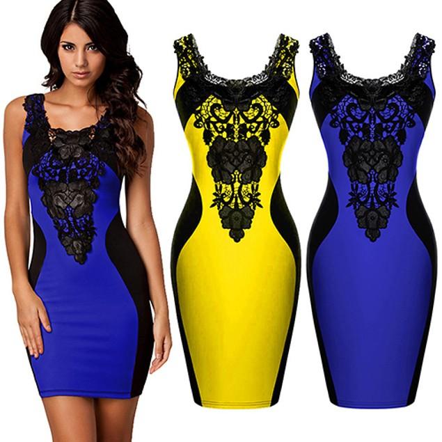 Women's Faux Leather Flower Lace Dress