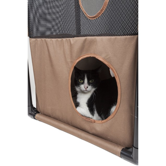 Pet Life Kitty-Square Folding Sturdy Travel Collapsible Pet Cat House