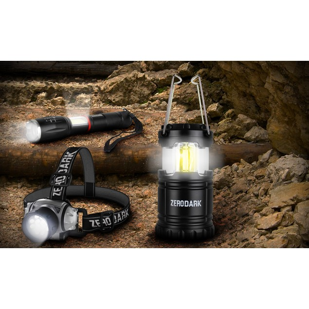 ZeroDark 3-Piece Tactical Bundle with Flashlight, Lantern, & Headlamp