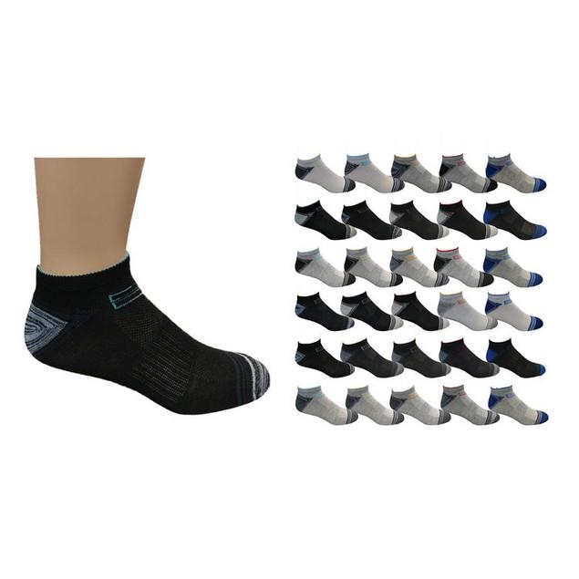 30 Pairs Men's Assorted Low Cut Socks