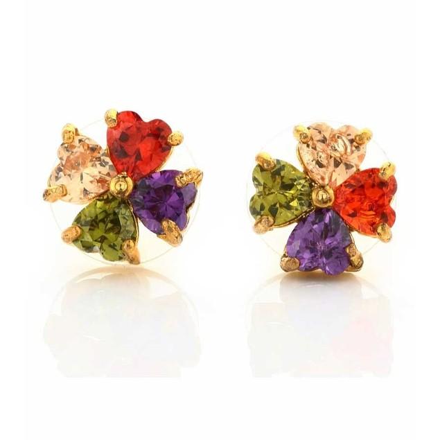 Novadab Multicolored Heart Stud Women Earrings