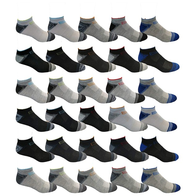 30-Pairs Men's Assorted Low Cut Socks